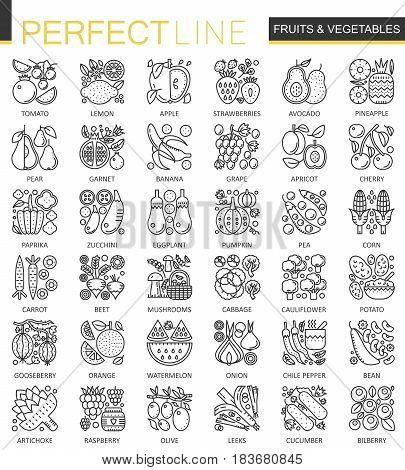 Fruits and Vegetables outline concept symbols. Perfect thin line icons. Modern linear style illustrations set