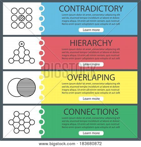 Abstract symbols banner templates set. Contradictory, hierarchy, overlaping, connections. Website menu items with linear icons. Color web banner. Vector headers design concepts