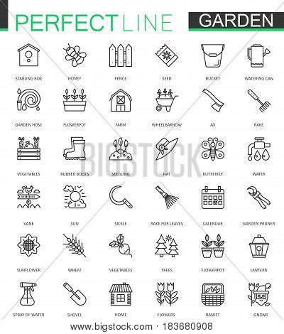 Gardening and flower thin lines web icons set. Outline icon design