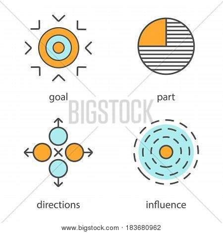 Abstract symbols color icons set. Goal, part, directions, influence. Isolated vector illustrations