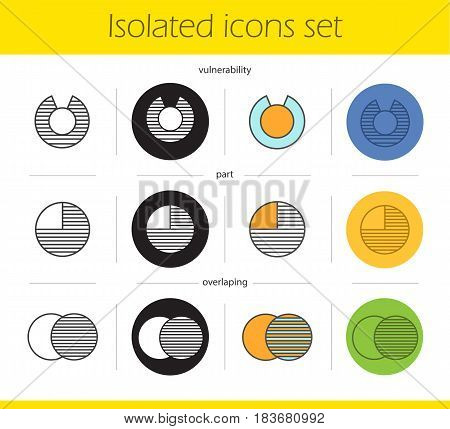 Abstract symbols icons set. Linear, black and color styles. Overlapping, part, vulnerability concepts. Isolated vector illustrations