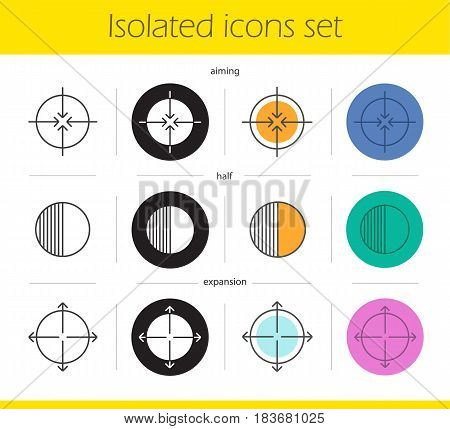 Abstract symbols icons set. Linear, black and color styles. Aiming, expansion, half symbols. Science and business related pictograms. Isolated vector illustrations