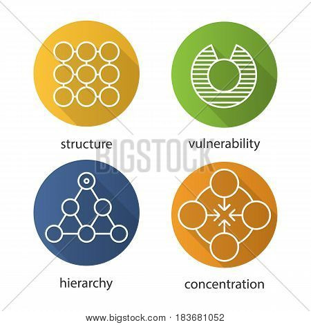 Abstract symbols flat linear long shadow icons set. Structure, vulnerability, hierarchy, concentration concepts. Vector line illustration