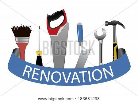 A set of tools. Concept logo for service renovation. Trowel saw hammer wrench screwdriver and brush. Vector illustration.