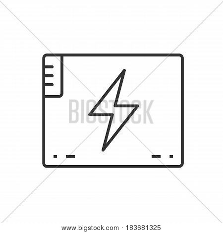Accumulator battery linear icon. Thin line illustration. Action camera battery contour symbol. Vector isolated outline drawing