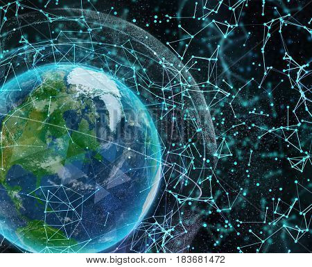Global digital network Earth technologies. Elements of this image furnished by NASA. 3d illustration