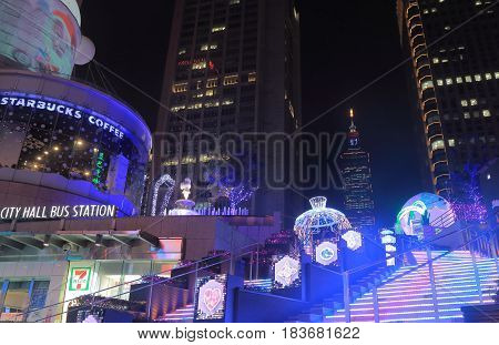 TAIPEI TAIWAN - DECEMBER 6, 2016: Xinyi shopping district night cityscape.