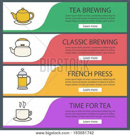 Tea banner templates set. Brewing teapot, french press, kettle, steaming cup on plate. Website menu items. Color web banner. Vector headers design concepts