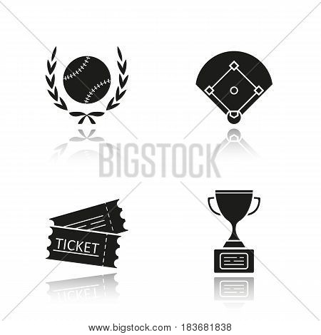 Baseball championship drop shadow black icons set. Softball ball in laurel wreath, field, tickets, winner's gold trophy cup. Isolated vector illustrations
