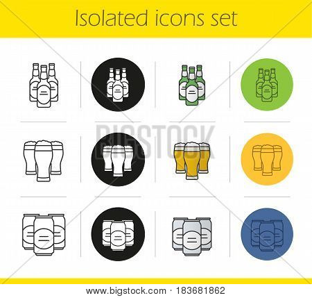 Beer icons set. Linear, black and color styles. Beer bottles, full foamy glasses and cans. Isolated vector illustrations