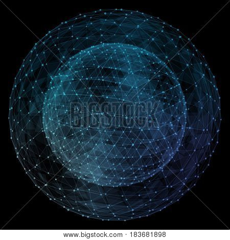 Abstract network globe. Technology concept of global communication.