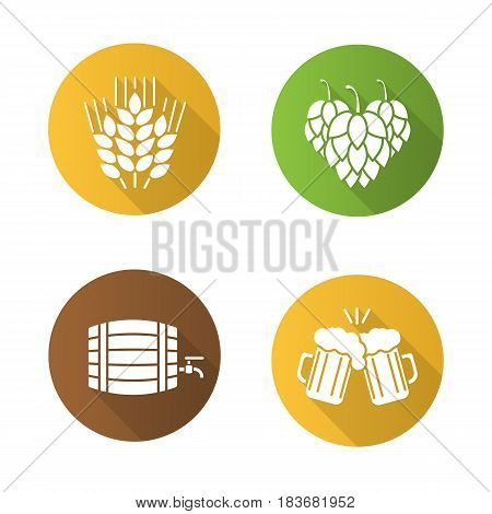 Beer flat design long shadow icons set. Hop cones, wheat ears, toasting beer glasses, alcohol wooden barrel. Vector silhouette symbols