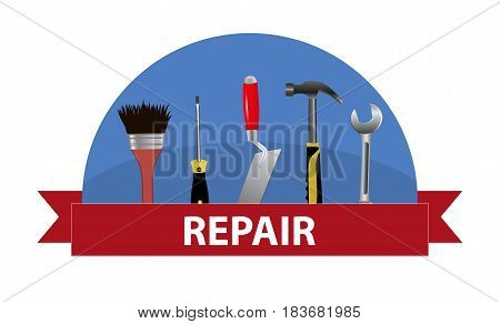 A set of tools. Concept logo for service repair. Trowel hammer wrench screwdriver and brush. Vector illustration.