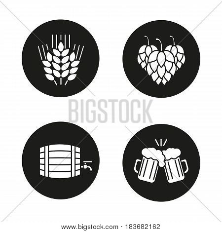 Beer icons set. Hop cones, wheat ears, toasting beer glasses, alcohol wooden barrel. Vector white silhouettes illustrations in black circles