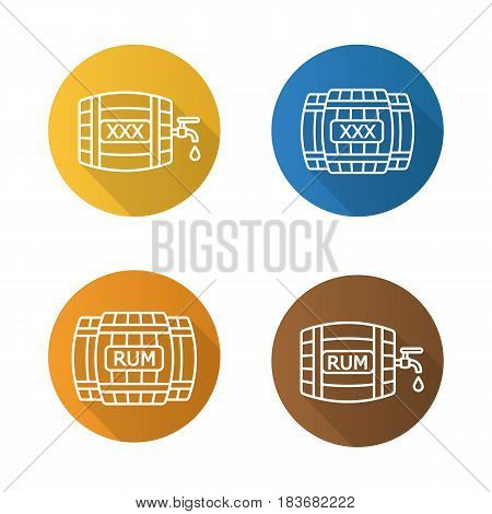Alcohol wooden barrels flat linear long shadow icons set. Rum or whiskey wooden barrels with tap, drop and xxx sign. Vector line symbols