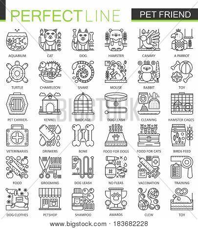 Pet friend outline concept symbols. Perfect Pet shop thin line icons. Modern linear style illustrations set