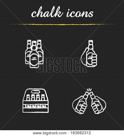 Beer chalk icons set. Cheers, box, toasting hands with beer bottles. Isolated vector chalkboard illustrations