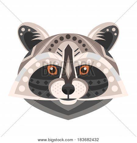 Raccoon Head Logo. Vector decorative Emblem isolated