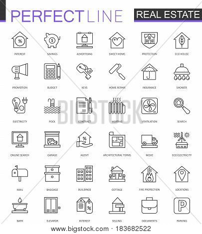 Real Estate thin line web icons set. Outline icon design