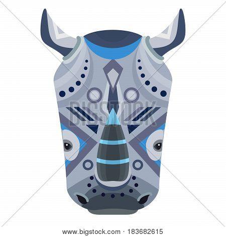 Rhino Head Logo. Vector decorative Emblem isolated