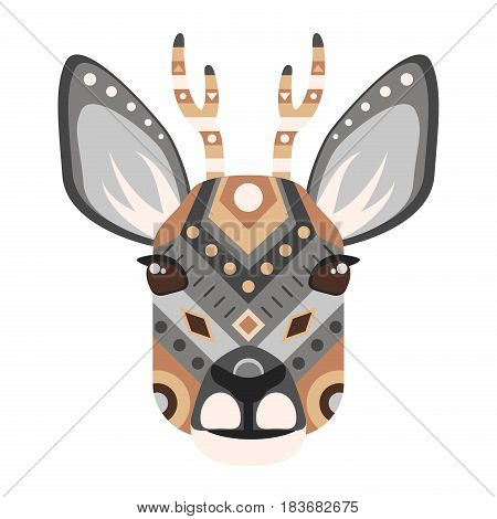 Roe Head Logo. Deer Vector decorative Emblem