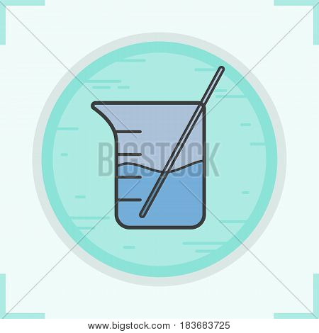 Beaker with rod and liquid color icon. Chemical experiment. Isolated vector illustration