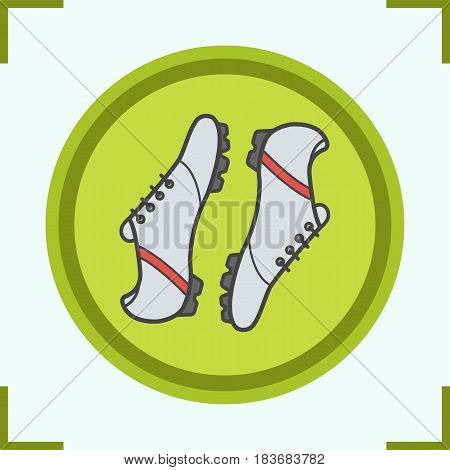 Soccer boots color icon. Baseball player shoes. Isolated vector illustration