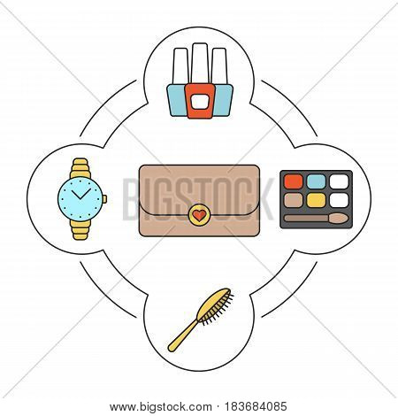 Women's accessories color icons set. Nail polish bottles, eyeshadow, hair brush, wristwatch, purse. Isolated vector illustrations
