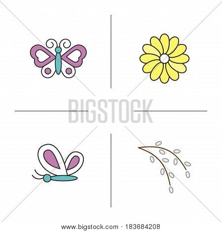 Spring color icons set. Butterflies, aster flower, willow blossom. Nature. Isolated vector illustrations