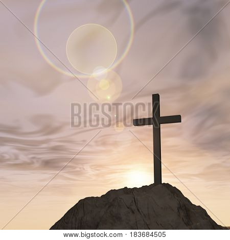 Concept or conceptual 3D illustration cross religion symbol shape on sunset sky, clouds background