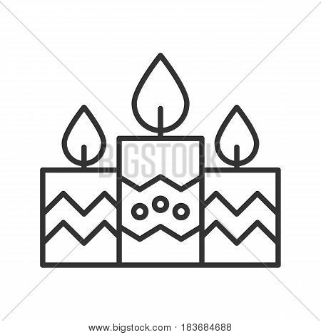 Church candles linear icon. Thin line illustration. Contour symbol. Vector isolated outline drawing