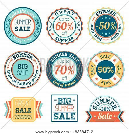 Set of vintage retro summer sale logos labels, posters, stickers, badges. Vector illustration