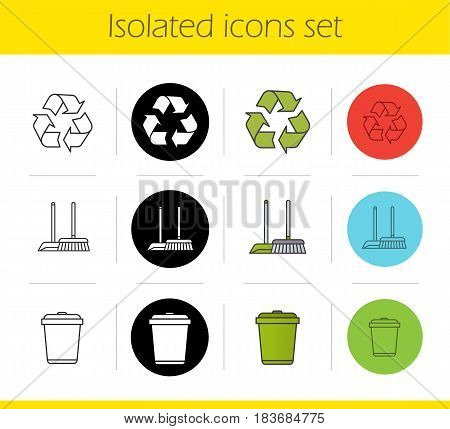 Cleaning service icons set. Linear, black and color styles. Environment protection. Recycle symbol, mop and dustpan, wastebasket. Isolated vector illustrations