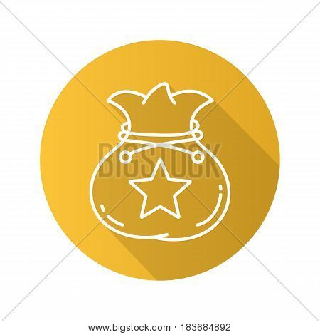 Bag flat linear long shadow icon. Sack with rope and star mark. Vector line symbol