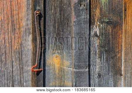 Wood texture. Background of old panels. Old Metal Hook on old wooden wall with faded planks