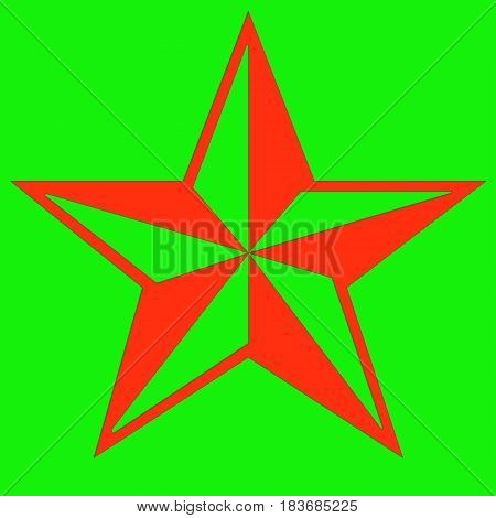 Image of a red relief star on a bright green background.