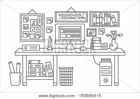 Linear office table with computer workspace and other equipment in office interior illustration. Thin line web banner template