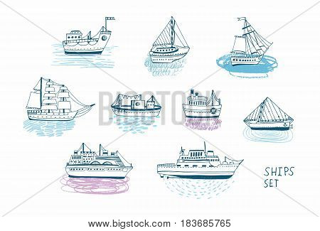Hand drawn doodle ships set. Colorful illustrations collection