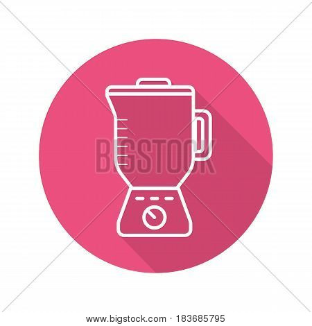 Blender flat linear long shadow icon. Food processor. Vector line symbol