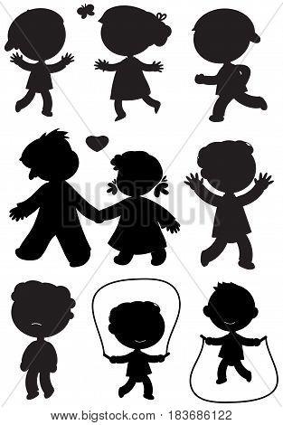 Nine boys and girls black vector icons