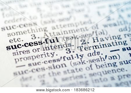 Definition of word successful in dictionary selective focus