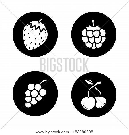 Berries icons set. Strawberry, two cherries, raspberry, bunch of grapes. Vector white silhouettes illustrations in black circles