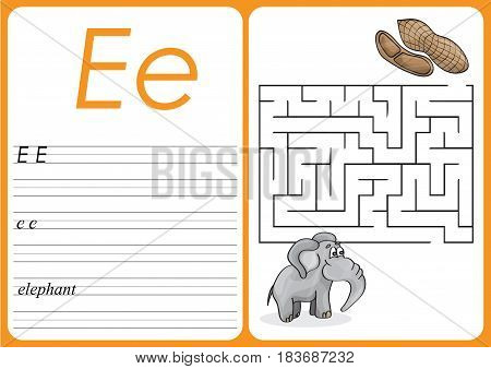 Alphabet A-Z - puzzle Worksheet - Game for Preschool Children with Cute Elephant and Peanuts