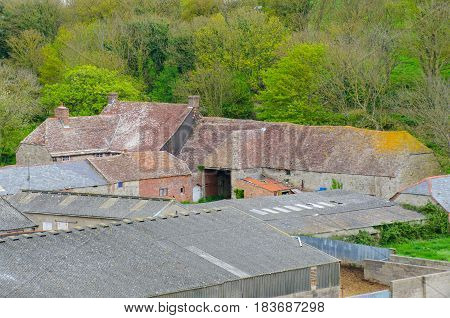 Group of English farm buildings from above