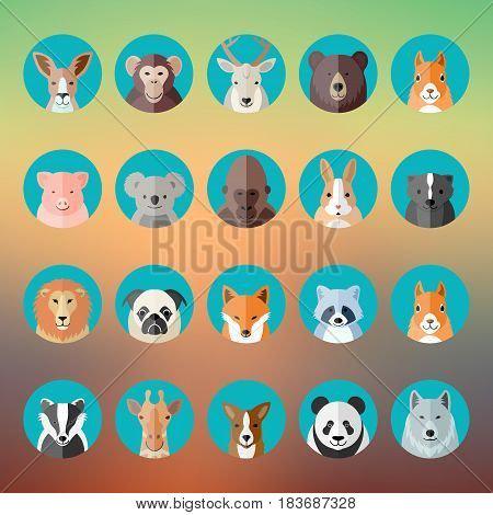 Flat Style Vector Animal Portraits or Avatars Icon Set with Blurred Abstract Background.