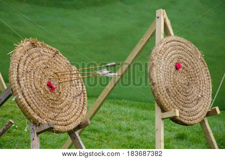 Straw Archery target with arrows in target