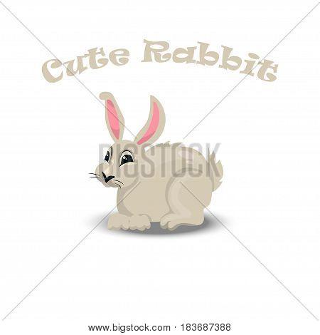 Vector illustration of a Cute cartoon rabbit. Farm animals collection
