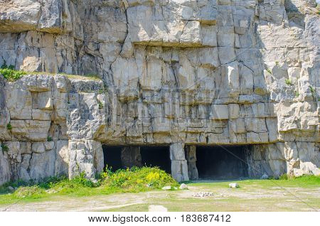 Disused Dorset Stone Quarry cut into cliffs