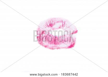female beautiful red lips print. Isolating the imprint of lips on a white background. woman's pink kiss stamp.