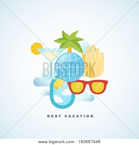 Best Vacation Flat Style Vector Tourism Illustration. Isolated.